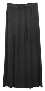 Helmut Lang Maxi Leather Banded Maxi Skirt Black