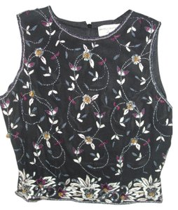 Papell Boutique Embroidered Silk Beaded Sequins Embellished Top black