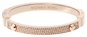 Michael Kors NWT ROSE Gold-Tone Crystal Pave Astor Stud Bangle Bracelet MKJ2747791
