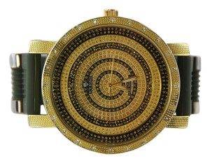 Ice King Ice King Men's Large Black/Gold Dual-Tone Rhinestone Band Watch 54mm
