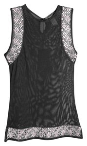 Versace Black Sheer Embellished Top Black/Multi
