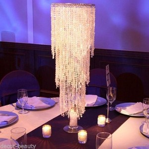 Lot Of 10 Tall Wedding Centerpiece Chandeliers (with Stands) Acrylic Crystal Beaded Chandelier And Centerpiece Stands