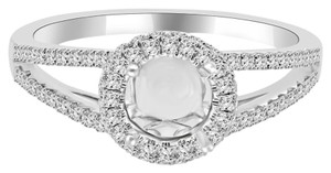 Avi and Co 1.00 cttw Round Diamond Halo Split Shank Engagement Semi-Mounting 18K White Gold