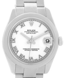 Rolex Rolex Midsize Datejust White Roman Dial Stainless Steel Watch 178240