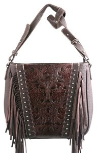 Montana West Leather Fringe Conceal Pocket Tooled Leather Trinity Ranch Cross Body Bag