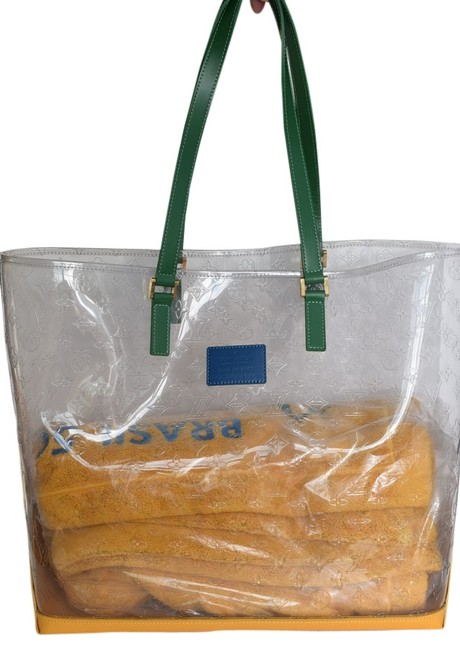 Item - Cabas Tote XL Brazil 500 Anos Clear / Blue / Green Vinyl and Leather Beach Bag