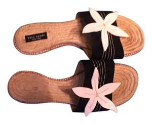 Kate Spade Canvas Leather Black and White Sandals