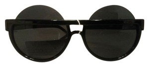 Vintage Fashion Vintage Retro Big Round Lens Sunglasses with Brow Line Peep-Over Bar Black NWT
