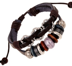 Brand new : Black Leather Multi layer Wooden Beaded Bracelet