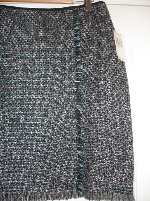 Tahari Wrap Style Snap Closing Size 12 Retail Skirt Black, Teal and Cement