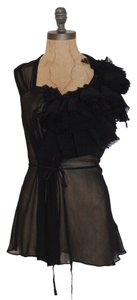 bebe Evening Rosette Applique Sheer Top BLACK