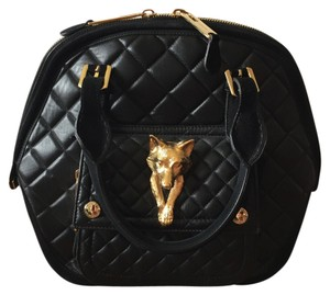 Burberry Fox Gold Quilted Leather Satchel in Black