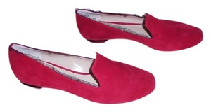 Nicholas Kirkwood Suede Upper Ruffle Tulle Edge Sculpted Heel Stylish Made In Italy Red Flats
