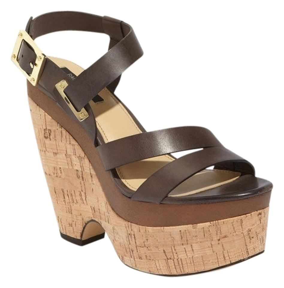 Rachel Zoe Brown Sandals Sharon Leather Wedge Platform Sandals Brown 60c5fd