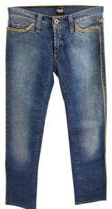 Dolce&Gabbana Chain Gold Straight Leg Jeans-Medium Wash