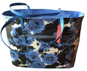 Talbots Fun Reversible Sturdy Tote in Delphinium Blue and Black Floral