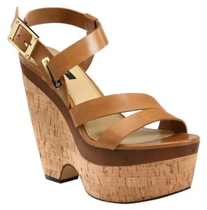 Rachel Zoe Wedge Leather Brown Sandals