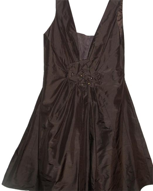 Item - Brown Chocolate Taffeta Mesh Studded Bow Tulle Ballet Short Cocktail Dress Size 2 (XS)