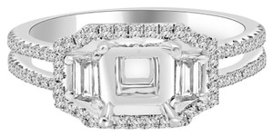 Avi and Co 0.63 cttw Round & Trapezoid Diamond Halo Engagement Semi-Mounting 18K White Gold