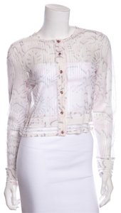 Escada Button Down Shirt White Sheer Irridescent