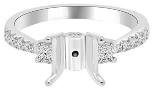 Avi and Co 0.80 cttw Princess & Round Diamond Engagement Semi-Mounting 18K White Gold