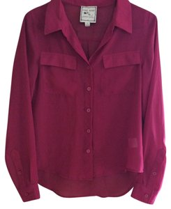 Pink Rose Sheer Buttondown Button Down Shirt