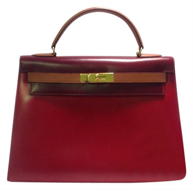 Item - Kelly Box Tricolor Calf 32 Cm Red Burgundy and Brown Leather Shoulder Bag