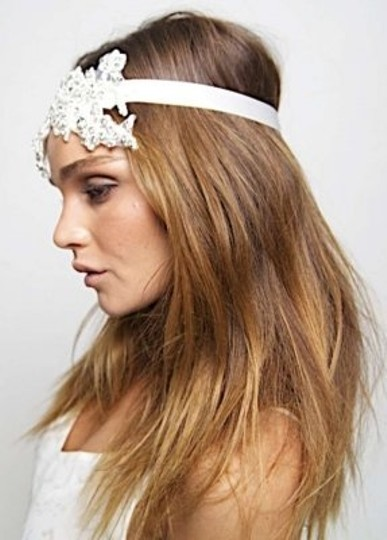 White Alice Crystal Lace Tiara Headpiece Hair Accessory