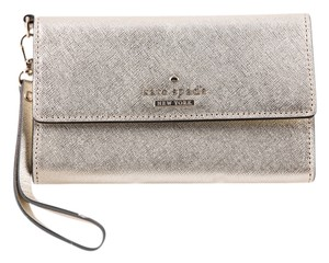 Kate Spade Sateen Iphone Wristlet in Gold