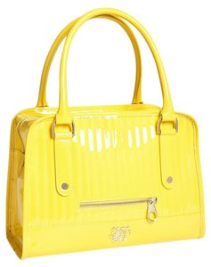 Ted Baker Fully Lined Quilted Detail Internal Zip Pocket Zipped Fastening Satchel in Bright Yellow