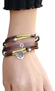 Brand new fashion brown leather bracelet.