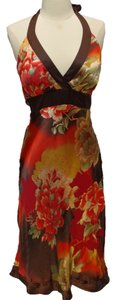 Cache short dress brown Floral Silk Halter on Tradesy