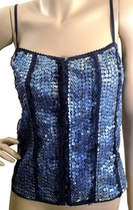 bebe Sequin Leather Top Blue