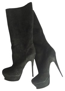 Saint Laurent Yves Ysl Tall Suede Tribute Black Boots