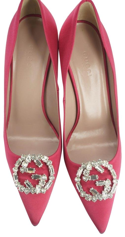 0248b760a Gucci 042302 Pointed Toe Hangisi Jewel Toe High Heels Pink Pumps Image 0 ...