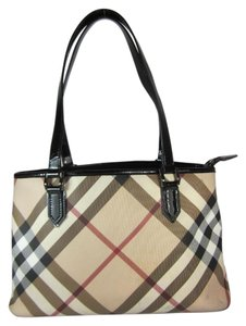 Burberry Nova Check Leather Tote Shoulder Bag