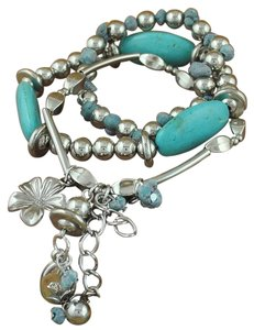 Other Brand New: Silver Plated Multi Strand and Turquoise Beads expandable Bracelet.