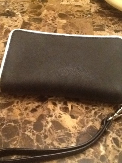 Michael Kors Wristlet in Black With Silver Trim