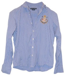 Ralph Lauren Embroidered Collared Button-up Cotton Button Down Shirt Blue - Striped