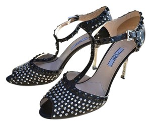 Prada Leather Peep Toe Runway Black w Silver Studs Rockstud Pumps