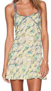Maaji short dress Yellow, turquoise, grey, cream background on Tradesy
