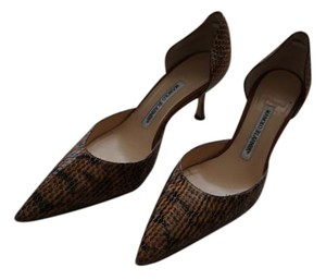 Manolo Blahnik Leather Brown & Black Snakeskin Pumps
