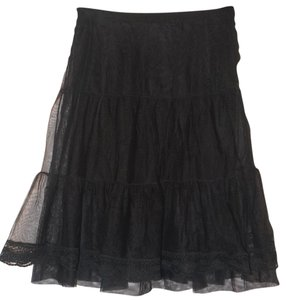 Free People Lace Tulle Elastic Tiered Skirt Black