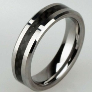 Silver/Black Titanium Steel Comfort Fit Free Shipping Men's Wedding Band