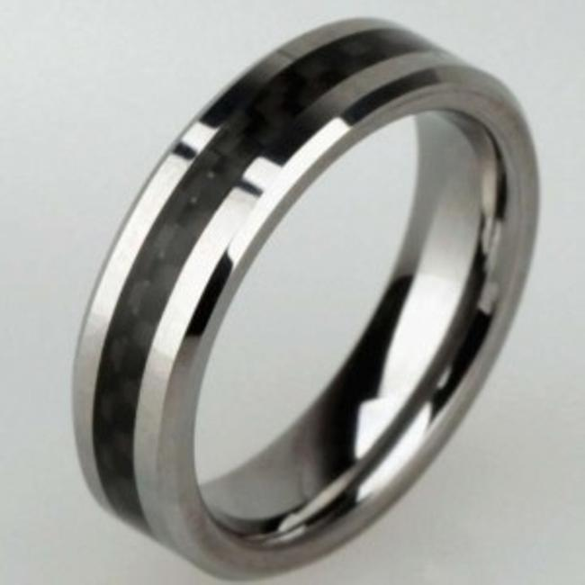 Item - Silver/Black Titanium Steel Comfort Fit Free Shipping Men's Wedding Band