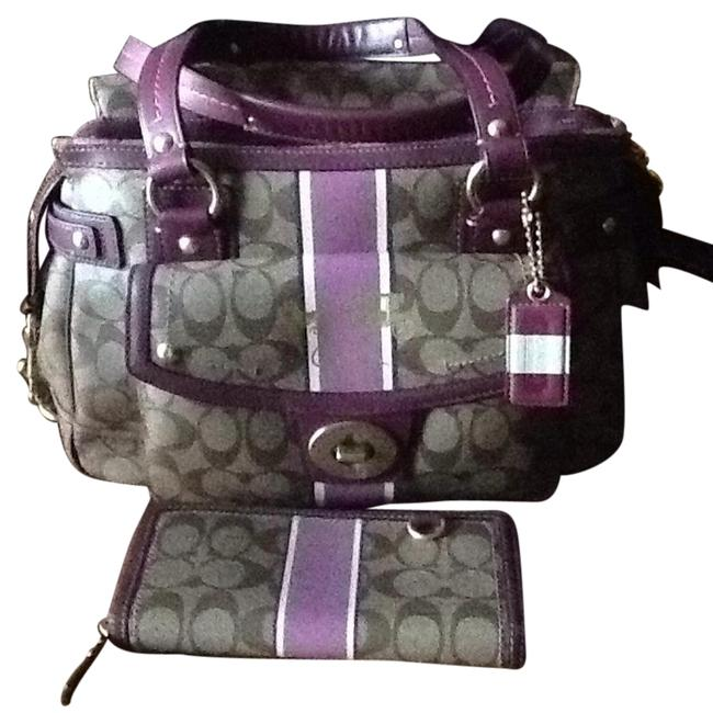 Item - Purple Brown and White Leather Baguette