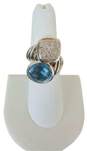 David Yurman David Yurman Mosaic Two-Stone Blue Topaz and White Pave Diamond Ring