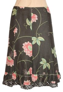 Cynthia Steffe Cotton Silk Floral Print Above Knee Skirt MULTICOLOR