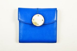 Malo Malo Blue White Beige Leather Glass Clasp Bi Fold Snap Wallet