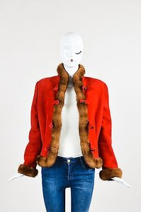 Valentino Brown Suede Fur Trim Button Down Jacket Coat